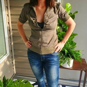 Army green zip up shirt jacket